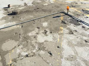 Deteriorated concrete helicopter landing pad