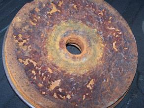 Damaged wastewater pump head as a result of corrosion from chemical attack