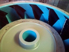 Pump vanes repaired and edges protected with Belzona 2141