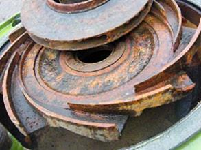 Severe corrosion and material loss on the cooling water pump
