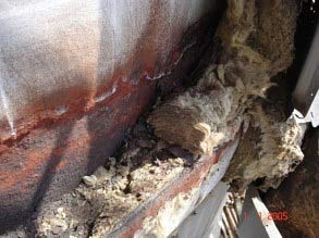 Severe damage due to CUI on insulated equipment