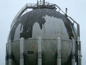 Damaged LNG spheres