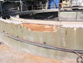 Water ingress had caused concrete damage on clarifier tank